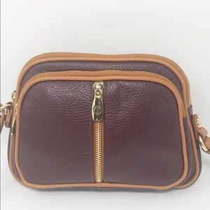Valentina leather wine and brown crossbody bag